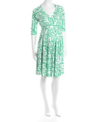 Green & White Surplice Maternity Dress