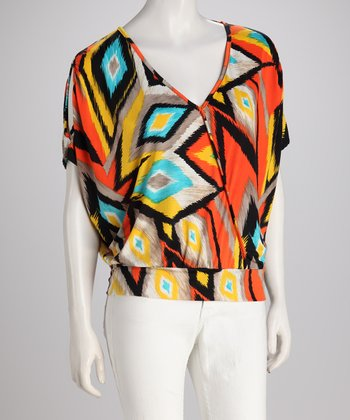 Orange Ikat Top