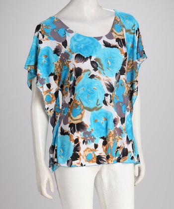 Blue Vintage Floral Cape-Sleeve Top
