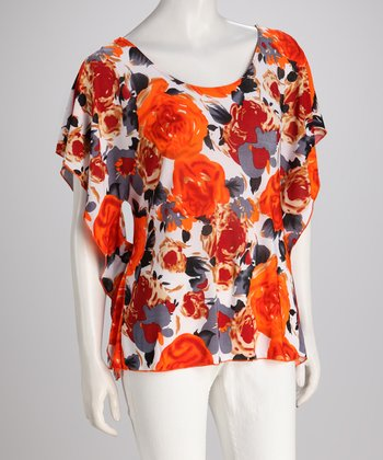 Orange Vintage Floral Cape-Sleeve Top