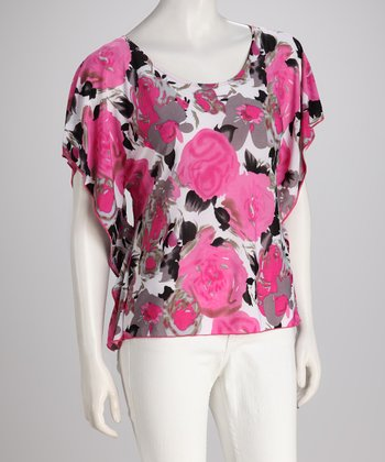 Pink Vintage Floral Cape-Sleeve Top