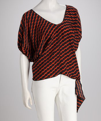 Orange & Navy Zigzag Tie Top