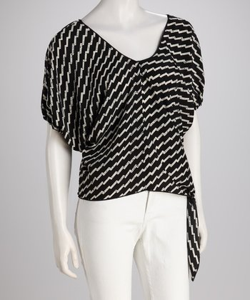 White & Black Zigzag Tie Top