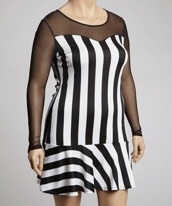 Black & White Stripe Dress - Plus