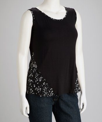 Black Dotted Sleeveless Top - Plus