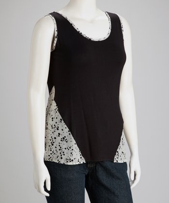 White Dotted Sleeveless Top - Plus
