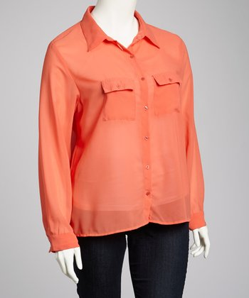 Orange Button-Up - Plus