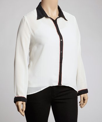 White & Black Contrast Button-Up - Plus