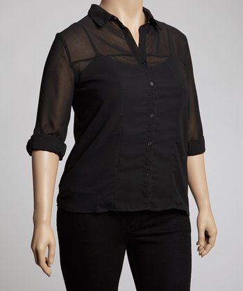 Black Sheer Button-Up - Plus