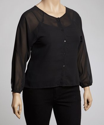 Black Cutout Button-Up - Plus
