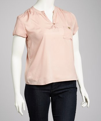 Pink Cap-Sleeve Top - Plus