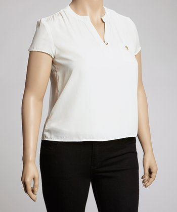 White Cap-Sleeve Top - Plus