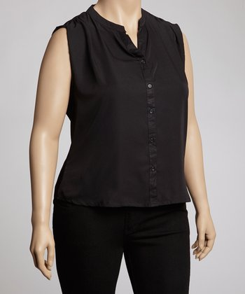 Black Sleeveless Button-Up - Plus