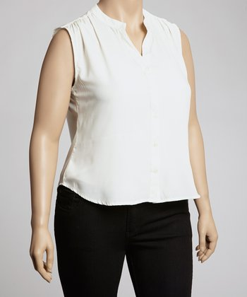 White Sleeveless Button-Up - Plus