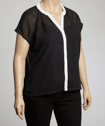 Black & White Short-Sleeve Button-Up - Plus