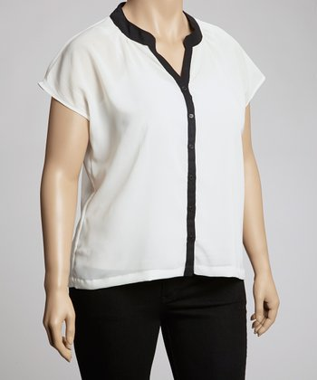 White & Black Short-Sleeve Button-Up - Plus
