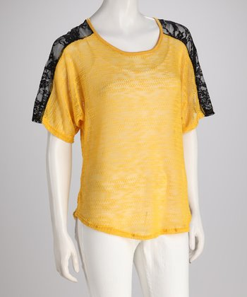 Yellow & Black Lace Sheer Top