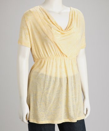 Yellow Drape-Neck Top - Plus