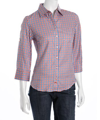 Orange & Blue Plaid Button-Up - Women