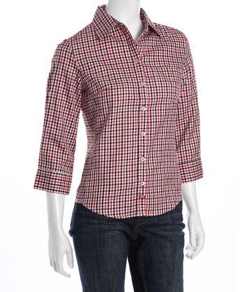 Red & Black Plaid Button-Up - Women
