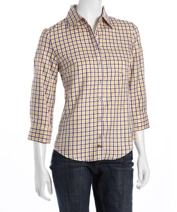 Purple & Gold Plaid Button-Up - Women