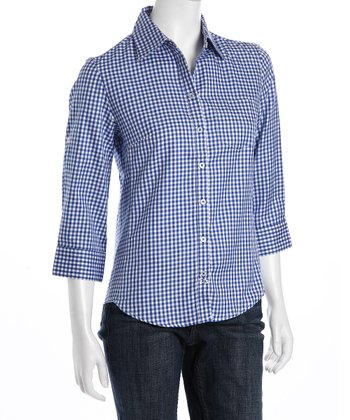 Blue & White Gingham Button-Up - Women