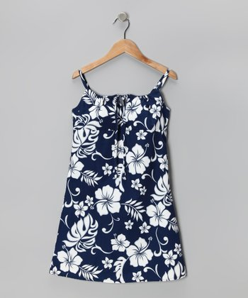 Navy Hibiscus Bow Dress - Girls