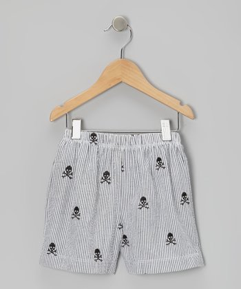 Gray Skull Seersucker Swim Trunks - Boys
