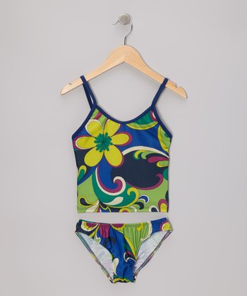 Blue Groovy Floral Tankini - Girls