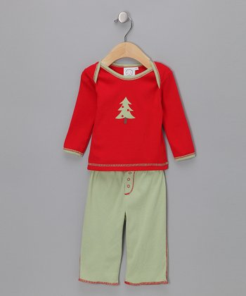 Red Tree Top & Green Pants - Infant