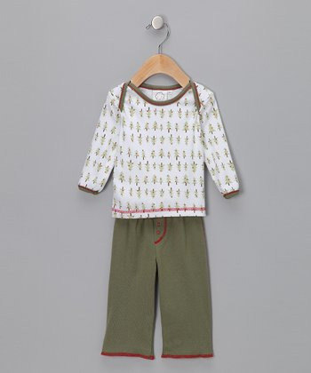 White Tee & Green Pants - Infant