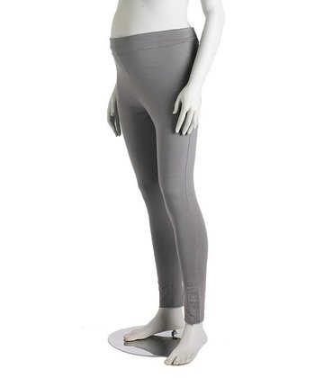 Gray Regular Snap Three-Way Maternity Leggings