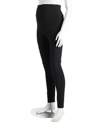 Black Tall Cuff Three-Way Maternity Leggings