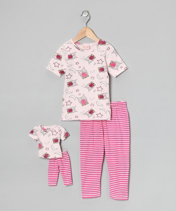 Pink Night Owl Pajama Set & Doll Outfit - Girls