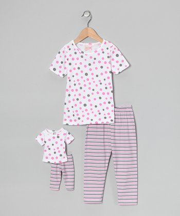 White Polka Dot & Stripe Pajama Set & Doll Outfit