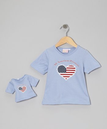 Light Blue 'American Princess' Tee & Doll Outfit - Girls