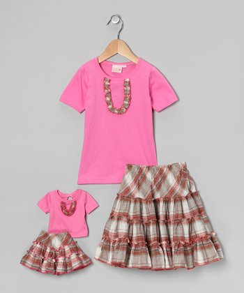 Pink Victoria Skirt Set & Doll Outfit - Girls