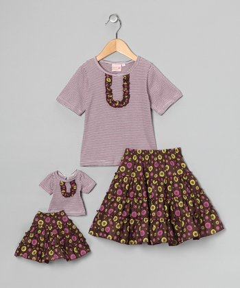 Plum Victoria Skirt Set & Doll Outfit - Girls