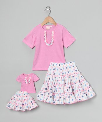 Pink Victoria Skirt Set & Doll Outfit