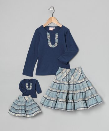 Blue & Gray Victoria Skirt Set & Doll Outfit - Girls
