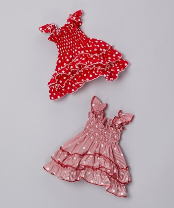 Pink & Red Polka Dot Doll Dress Set