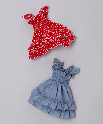 Blue & Red Polka Dot Doll Dress Set