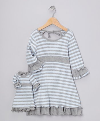 Blue & Gray Cecelia Dress & Doll Outfit - Girls