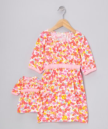 White & Pink Floral Kate Dress & Doll Outfit