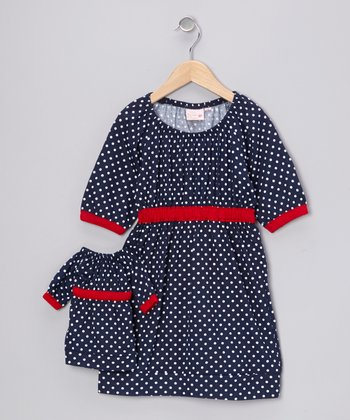 Blue Polka Dot Kate Dress & Doll Outfit - Girls