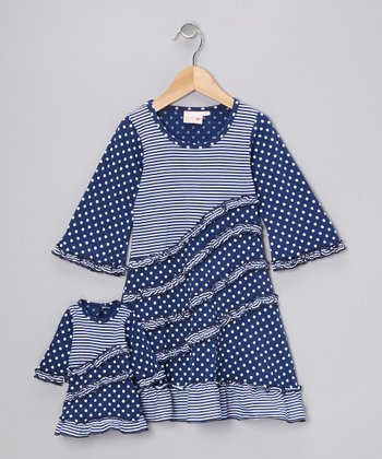 Blue Polka Dot Emma Dress & Doll Outfit