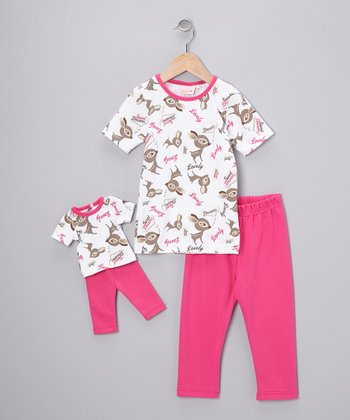 White Oh Deer Pajama Set & Doll Outfit - Girls