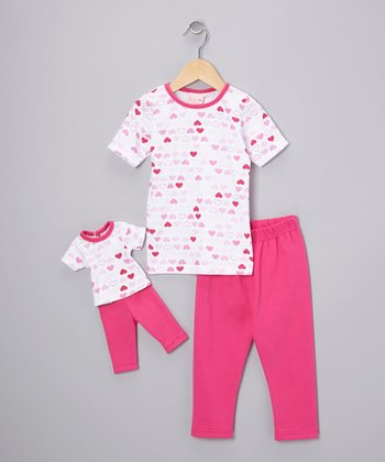 Pink Heart Pajama Set & Doll Outfit