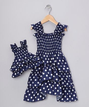 Blue Polka Dot Angel-Sleeve Dress & Doll Outfit