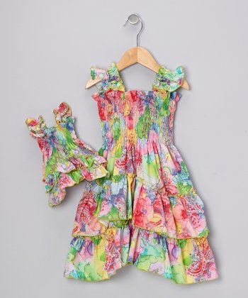 Rainbow Angel-Sleeve Dress & Doll Outfit